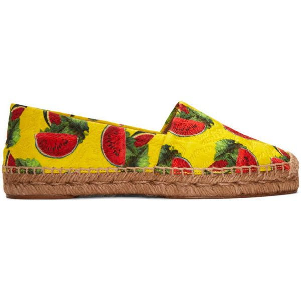 Dolce and Gabbana Yellow Watermelon Espadrilles (6.508.185 IDR) ❤ liked on Polyvore featuring shoes, sandals, yellow, print shoes, yellow espadrilles, woven sandals, yellow cap and braid cap