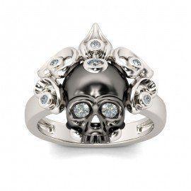 Silver Skull Rings, Skull Engagement Ring, Skull Wedding Rings For Women - Jeulia.com #wedding #ringsforwomen #rings