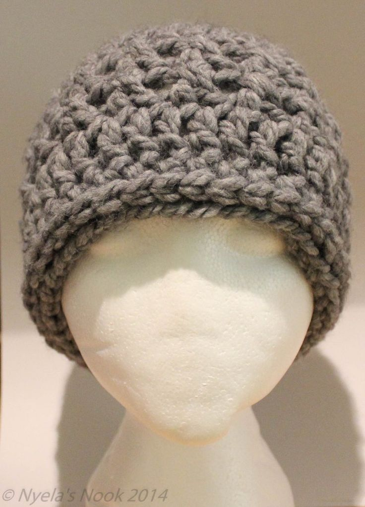 """Nyela's Nook Crochet Hat for Men: shown here, in """"Wool-Ease Thick & Quick"""" yarn. Soft and chunky -- it works up so fast, it's done in less than 1 hour!"""