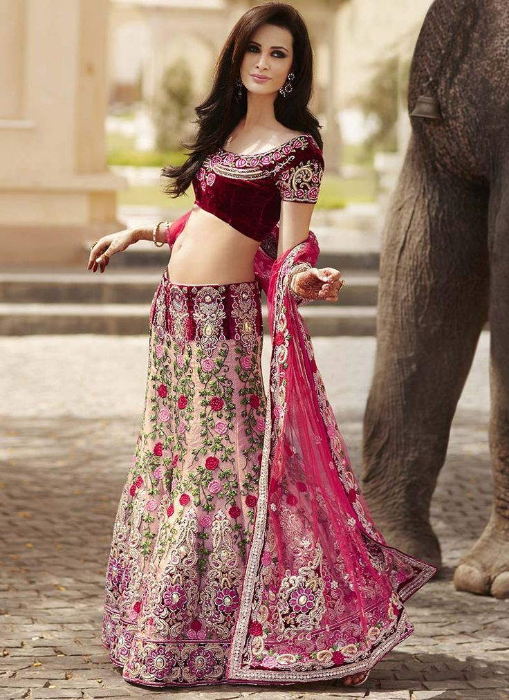 Burgundy And Pink Velvet Lehenga Indian Paradise