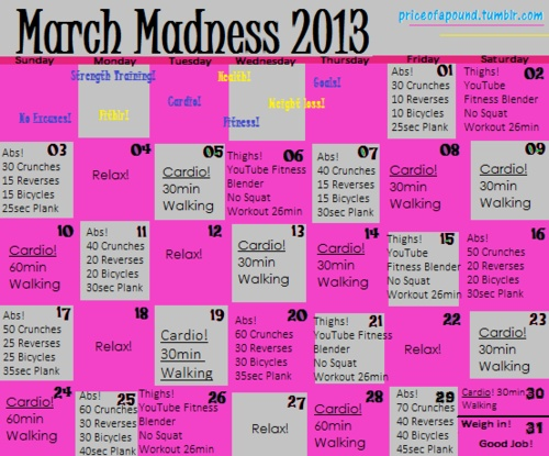 March Madness Fitness Calendar Youtube Cardio Plank Workout Workout Calendar
