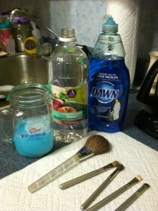 Make-up brush cleaner: 1 cup warm water + 1 TBSP vinegar + 1 TBSP dish soap.  Swirl swirl swirl. Rinse. Reshape and dry overnight!