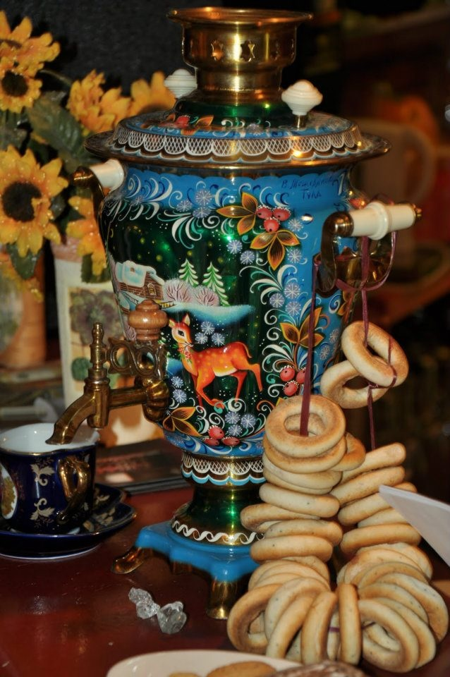"Typically, people in the US and Canada consider England to be the major tea drinking country in Europe, but recent study found that 82 percent of Russians drink tea daily.  The attributes of Russian tea drinking: samovar (meaning ""self-boiler"" in Russian), loose leaf black tea, pancakes, jam, cubed sugar, sliced lemon, cups in cup holders, porcelain set… Unfortunately, very few people drink tea in accordance with this attributes, because almost no one these days uses a samovar."