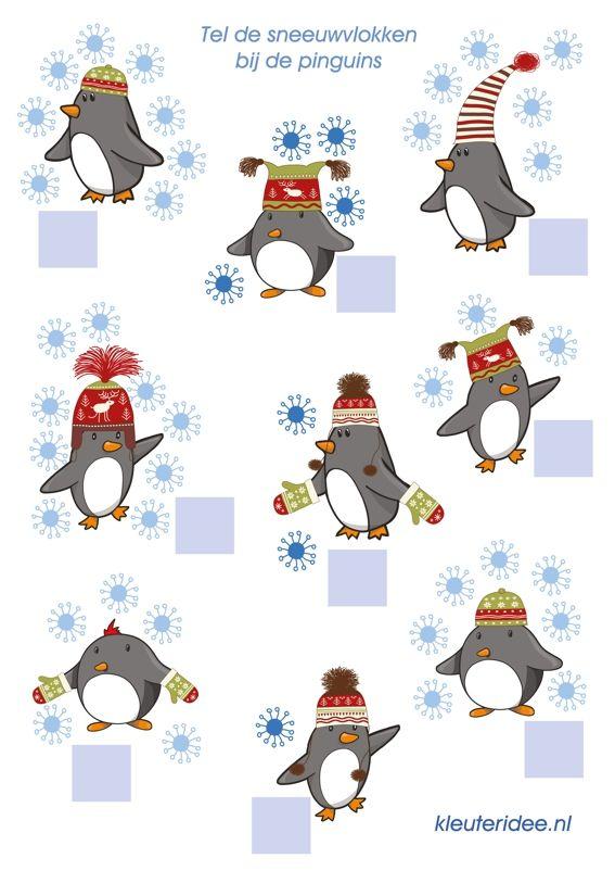 Sneeuwvlokken tellen, kleuteridee.nl, free printable thema Noordpool & Zuidpool