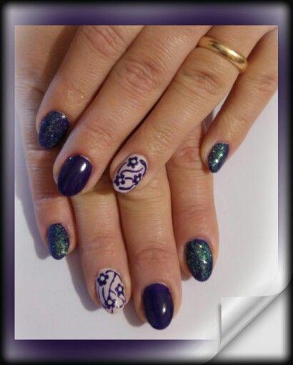 viola scuro cappuccino multiglitter fiori