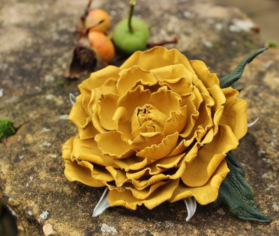 Leather flower, leather rose, yellow leather flower brooch, fall wedding
