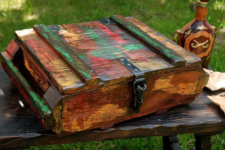 Vintage Painted Wooden Box Handmade Wood Trunk Ammunition Army Salvage Military Ammo Chest Storage Container Loft Wooden Treasury Decor by SlawekTreasures on Etsy