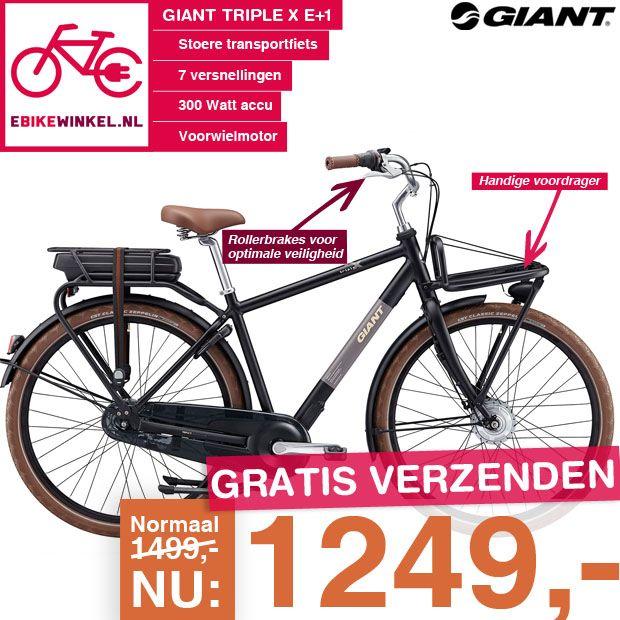 #Nieuw bij ebikewinkel.nl: De Giant Bicycles Triple X E+1! En we hebben hem direct zeer scherp geprijsd: Nu voor maar 1249.00!  Dus ben je op zoek naar een stoere #fiets helemaal van deze tijd? Ga dan snel naar: https://www.ebikewinkel.nl/giant-triple-x-e-1-heren-l en #bestel!  #actie #hip #trend #mode #ebike
