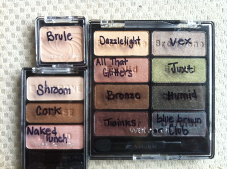 """Wet n Wild eyeshadow dupes for MAC shades. """"Comfort Zone"""" palette by WNW has: Dazzlelight, All That Glitters, Bronze, Twinks, Vex, Juxt, Humid, and BlueBrown pigment or Club. Walking on Eggshells palette by WNW has; Shroom, Cork, Naked Lunch. Brûlée by WNW is: Brule"""