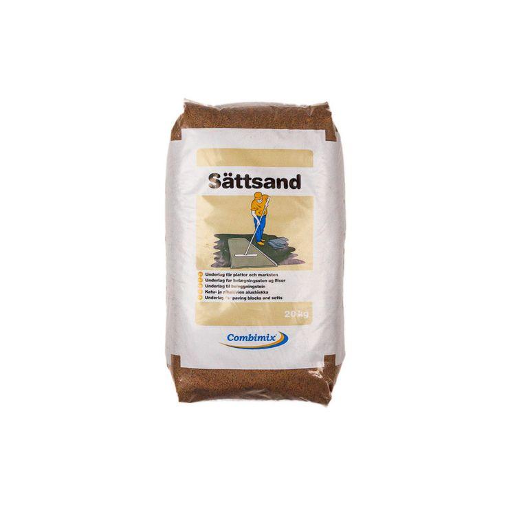 Sättsand 20kg/säck För att sätta plattor och marksten. Lämpar sig även väl som skyddssand för rör och tankar. Läggs i skikt 3-5 cm. Sandfraktioner mellan