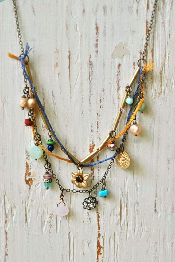 Jane. layered bohemian charm necklace. by tiedupmemories on Etsy, $56.00