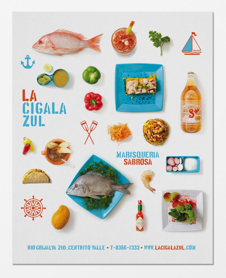 Digging this graphic identity (+ wishing I were in Monterrey): savvy studio of monterrey, mexico designed   this cheerful identity for seafood restaurant 'la cigala zul'.  la cigala zul is a seafood restaurant is located at the center of a city  that is overpopulated with similar restaurants.