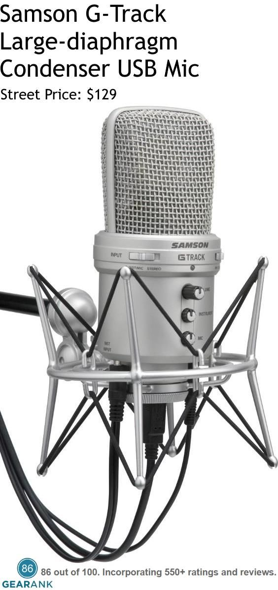 Samson G-Track Large-diaphragm Condenser USB Microphone. Perfect for home recording this mic has a built-in USB audio interface with 16-bit, 48kHz resolution.  For a detailed Guide to USB Microphones for Recording & Podcasting see https://www.gearank.com/guides/usb-microphones