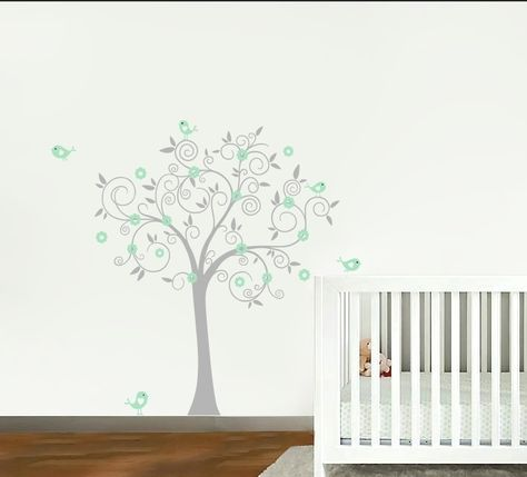 Muursticker Grijs Mint Boom - Muurstickers Babykamer & Kinderkamer