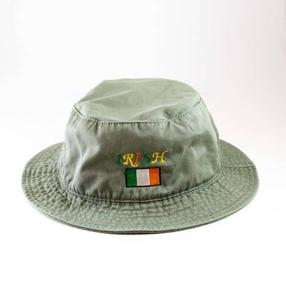 Vintage Irish Green Bucket Hat // Irish Flag Embroidered Cap // Ireland Vacation Roll Up Hat // Boonie Cap // Forest Green Gilligan Hat