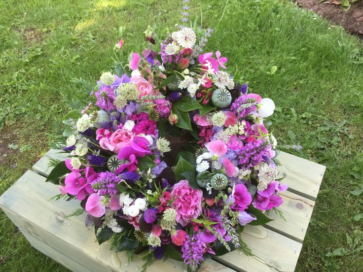 Wreath ring, British flowers,all homegrown in our cottage garden,Herefordshire, David Austin roses, poppy seed heads, Sweetpeas .