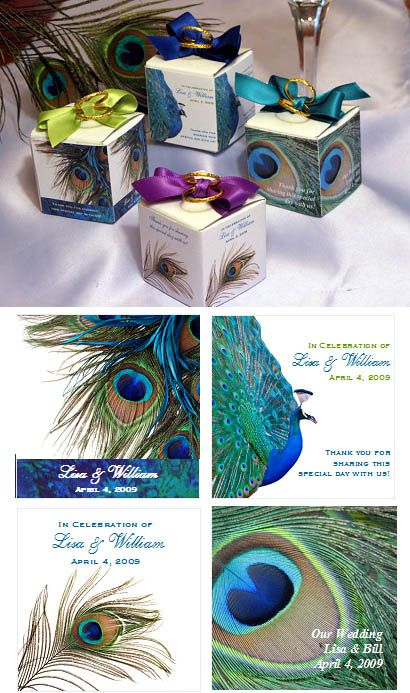 Peacock Wedding Decorations | Peacock Wedding Favor Boxes - 2 inch Square