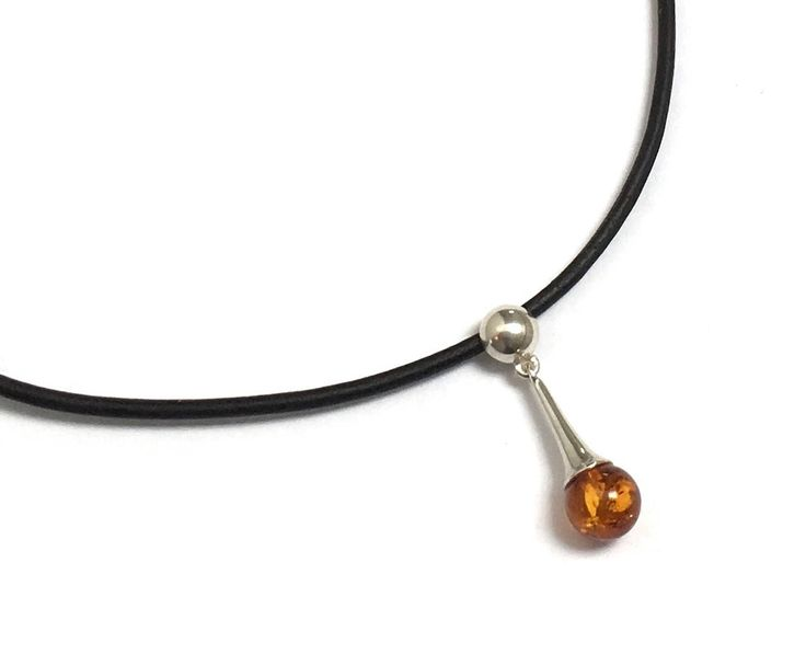 Black Leather Choker Necklace Amber Sterling Silver Charm Natural Jewelry Gift for Millennial Daughter Grad Prom Boho Festival Fashion Style by AthenaisJewelry on Etsy
