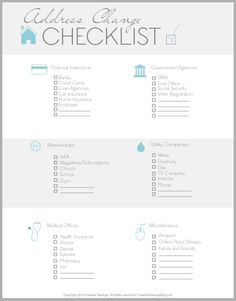 FREE Address Change Checklist  Free Change Address