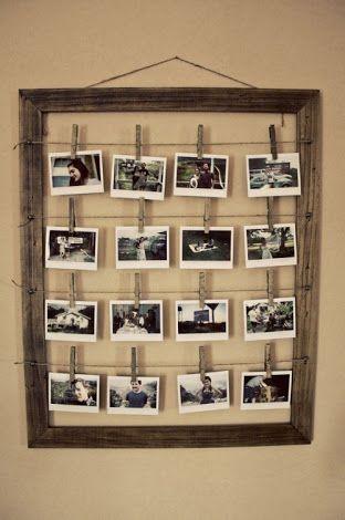 So kommen deine Fotos richtig zur Geltung: mit einem alten Bilderrahmen, Schnüren und Wäscheklammern!