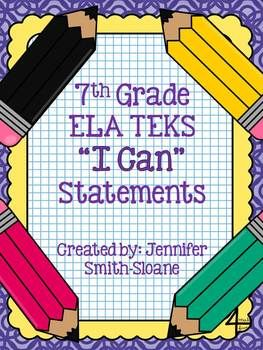 Turn those daily student objectives of TEKS into I Can statements and make your students aware of the goal for the day!Included are:- Directions to prepare and use in your classroom- I Can Statement cards for ALL 7th Grade ELA TEKSThese are created in black and white for optimal printing on colored cardstock to match any classroom decor!Interested in another grade level or subject?