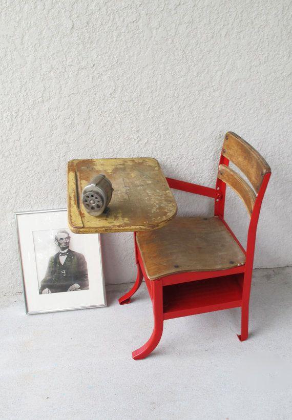 Red industrial vintage school desk