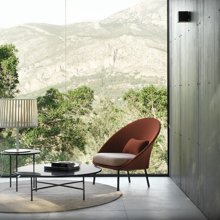 Beautiful Twins Low Armchair Upholstered In Omega Outdoor Paprika With Grada And Oh!  Lamp. Outdoor