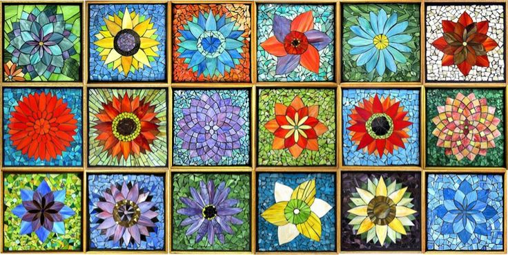 Flower mosaics...Mine is in the middle,third from the left. :) Learned this technique from Kasia P...she was a great teacher.