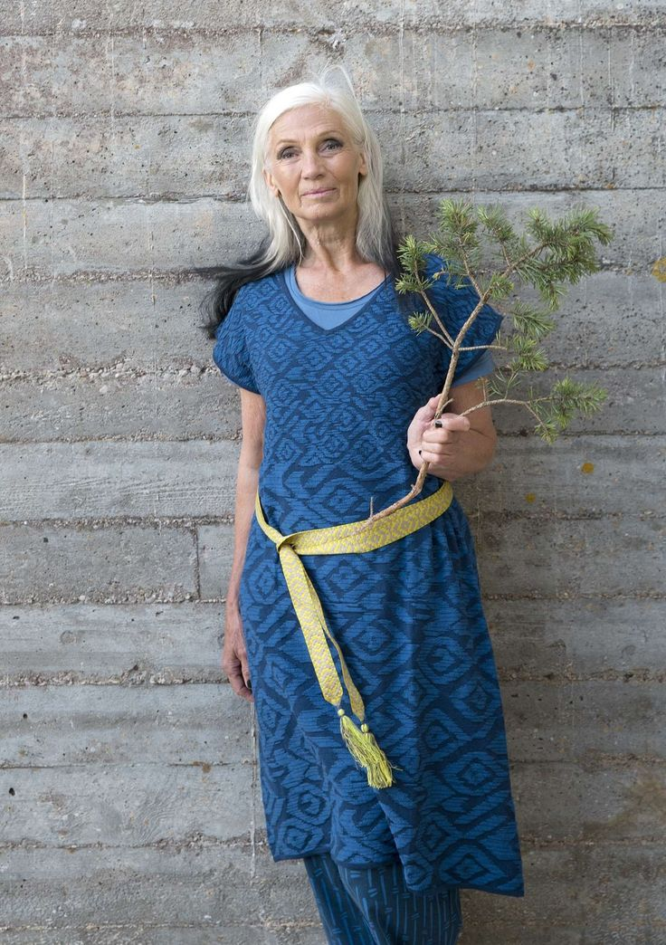 """Dress """"Kyoto"""" in organic cotton Jacquard knit dress pattern """"Kyoto"""", knitted in an exciting color effect, and where the pattern is different size top and bottom. Single color edges and a pretty cap sleeve. Regular fit. Length / M: 96 cm Item number 71703 Price SEK 745, sizes S-XXL"""