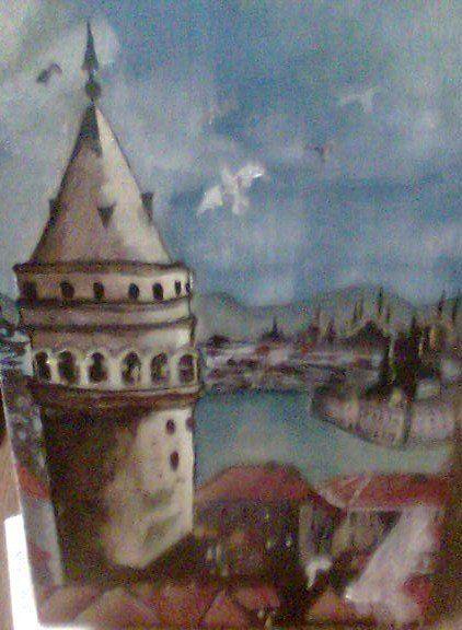 yağlı boya -galata kulesi OIL PAINTİNG-GALATA TOWER