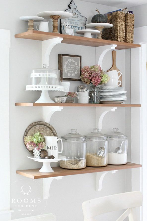 Open Shelving at baking station with ingredients in glass jars