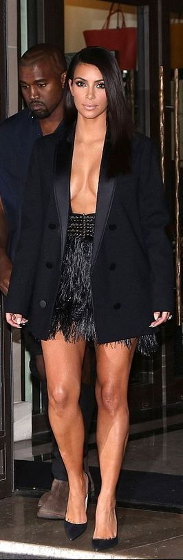 Who made  Kim Kardashian's black feather skirt, blazer, and suede pumps that she wore in Paris