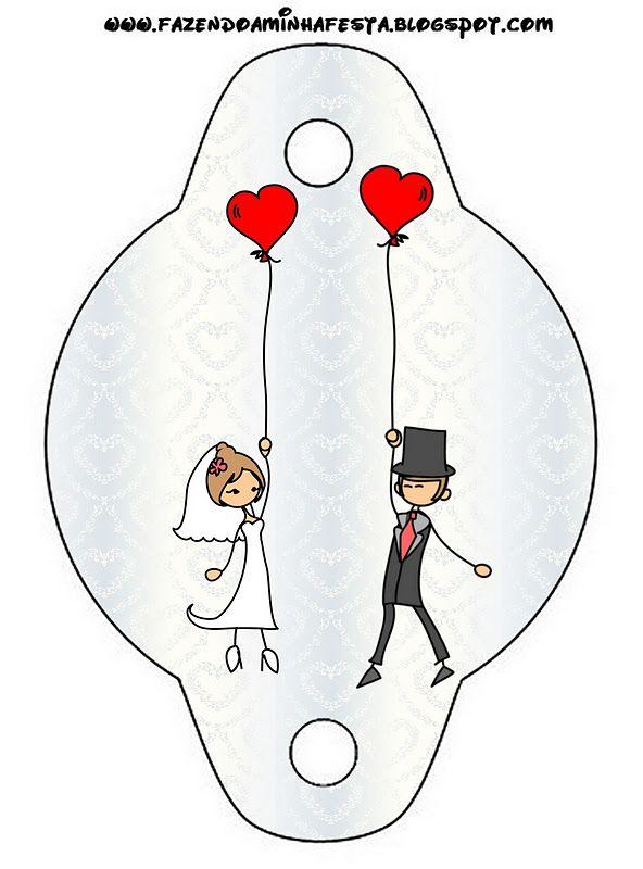 Free wedding and honeymoon with balloons hearts printable.
