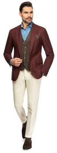Bordo serge - Made to Measure jacket by Louis Purple