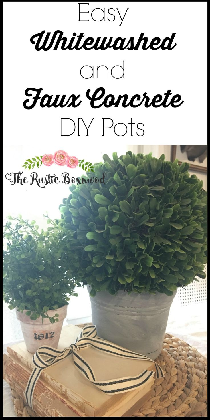 Easy Whitewashed, Stenciled and Faux Concrete DIY Pots | The Rustic Boxwood | diy, whitewash, faux concrete, pots, spring, tutorial
