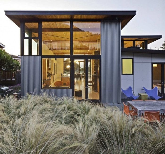 corrugated metal house
