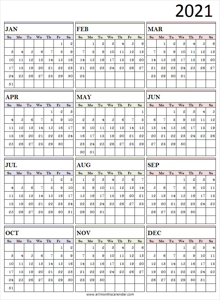 Calendar 2021 Excel Template - 2021 Calendar All Months ...