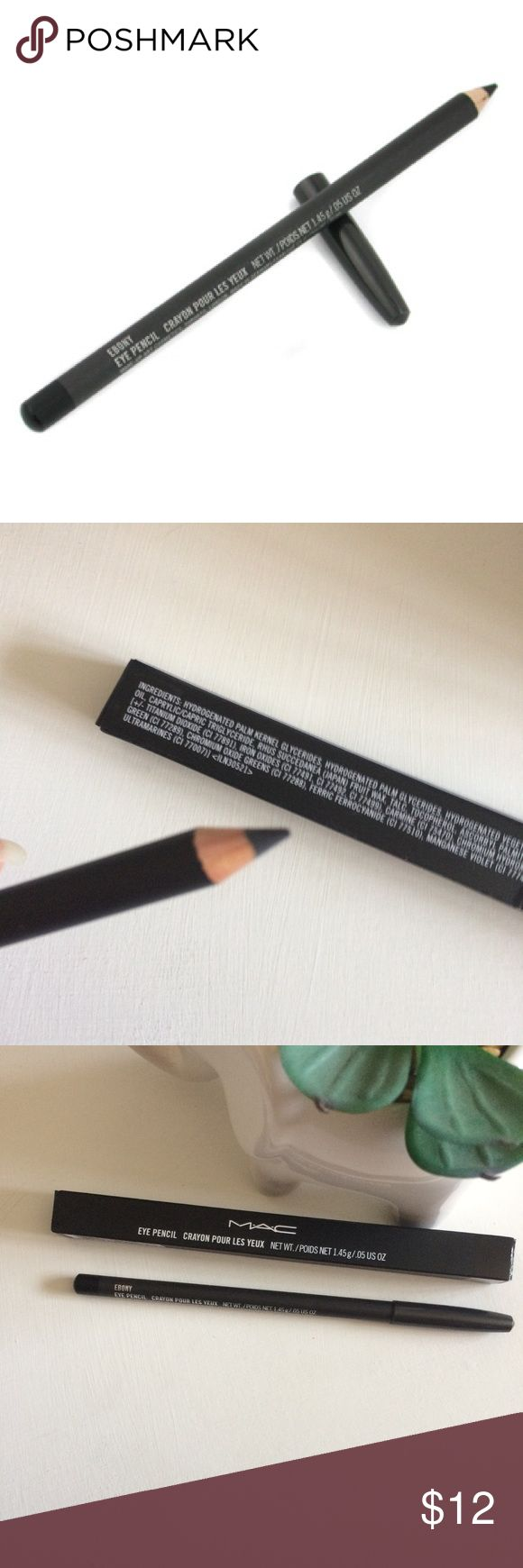 NIB MAC Cosmetics Ebony Eye Pencil   Black Liner New in box. Only swatched. Per reviews online it's a bit difficult to use. Beauty Tip: heat up eyeliner under blow dryer so it melts onto skin easily MAC Cosmetics Makeup Eyeliner