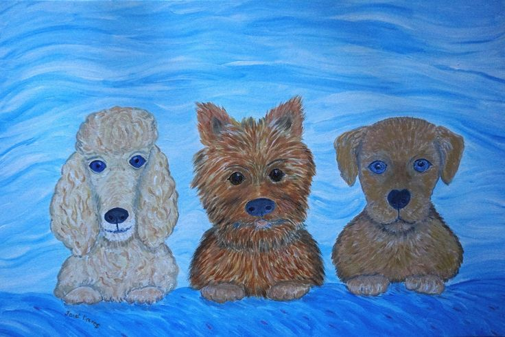 Puppy Pals Painting Three cute puppy dogs with turquoise background Janet Davies