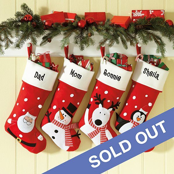 c36e832cc Pick your favorite from 4 friendly winter characters: Santa, Penguin,  Snowman or Reindeer. We embroider our soft felt stockings with any name, ...