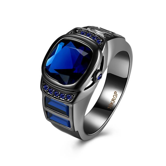 Big Band Luxury Blue Ring Blue CZ Men Women Classic Wedding Jewelry Black Gold Filled Engagement Rings Bague Femme