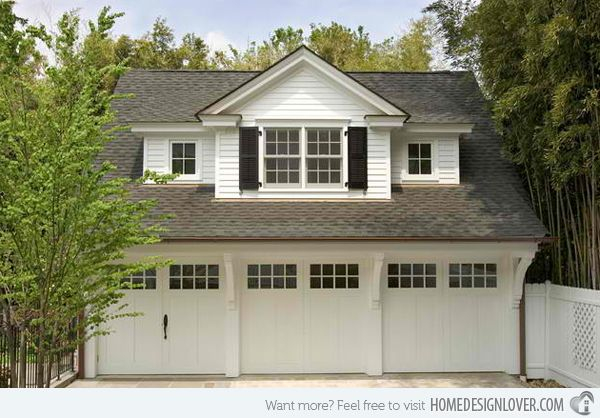 A simple but elegant three car garage that has a carriage house design, perfect for those who goes for the whole traditional and French inspired look.
