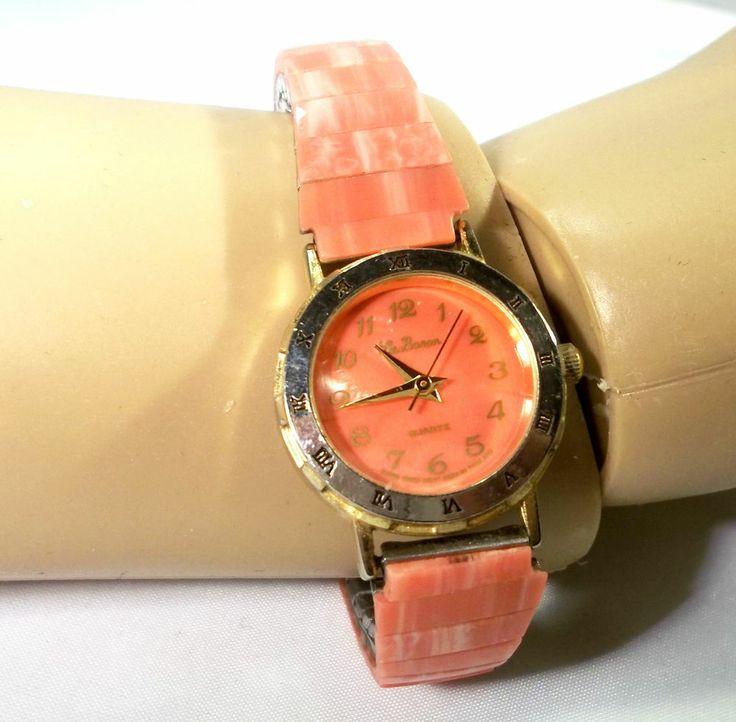 Coral Pink Shell Face Band La Boron Brand Swiss Parts Movement Watch, 1364 #Fashion