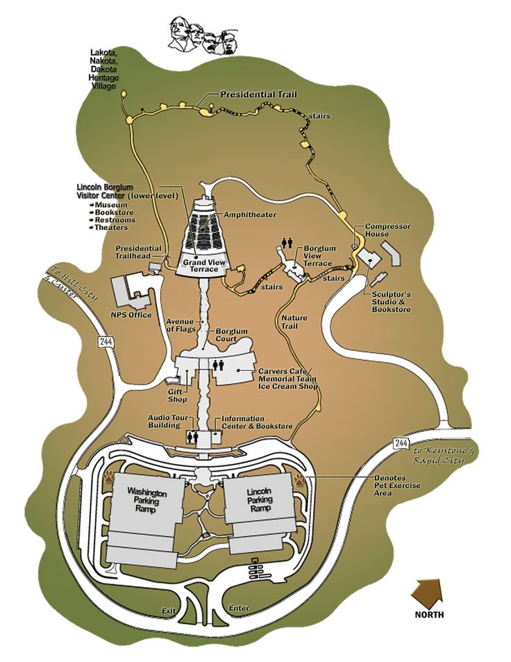 This is a map of Mount Rushmore State Park. As you can see, it is pretty big. The Mount Rushmore monument is on the west side of the park.