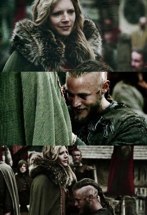 "LAGERTHA - ""I'M WITH CHILD."".                          RAGNAR - "" I KNOW IT'S A BOY."""
