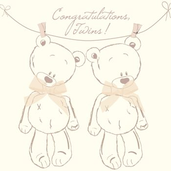 Congratulations On Your Baby Twins Card - product images