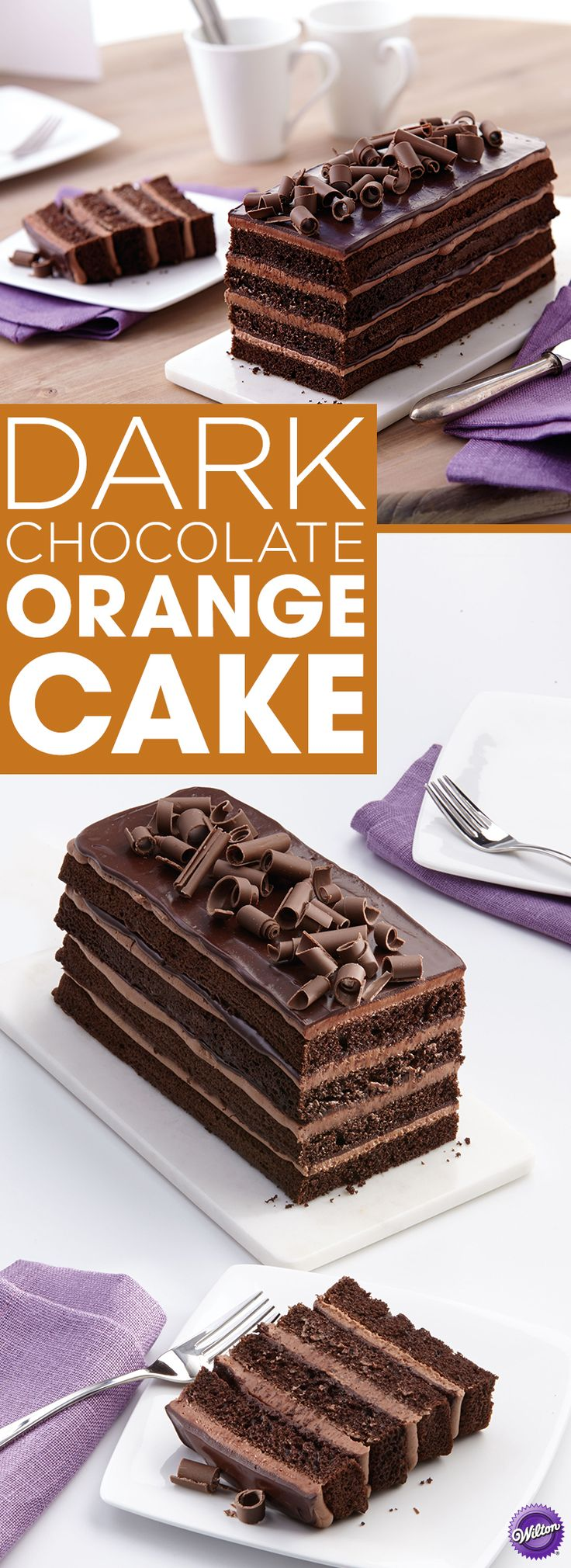 Dark Chocolate Orange Cake Recipe - Dark chocolate and orange are a classic flavor combination. The orange flavor adds a hint of sweetness to the delicious dark chocolate cake and the luscious dark chocolate ganache in this Dark Chocolate Orange Cake.