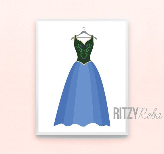 Anna Frozen Princess Dress Print - Minimalist Disney Pixar Nursery Art, Kids Playroom Art, Childrens Art, Girls Modern Nursery Drawing on Etsy, $10.00