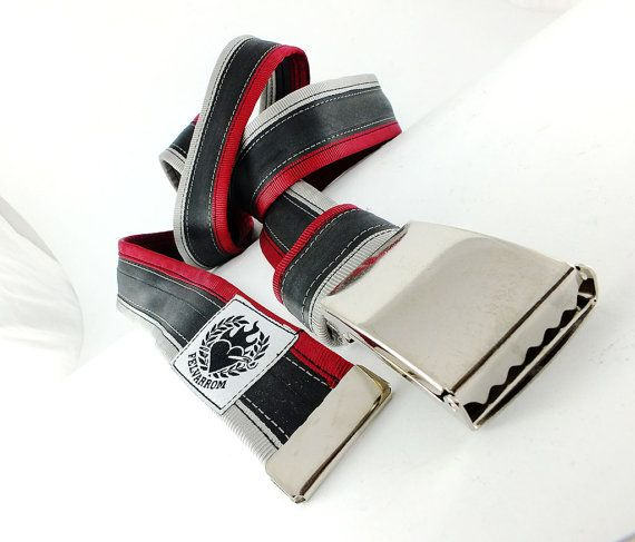 punctured 2 ruby red bourdon / grey #recycled #upcycled #inerube #belt for 34 USD by felvarrom