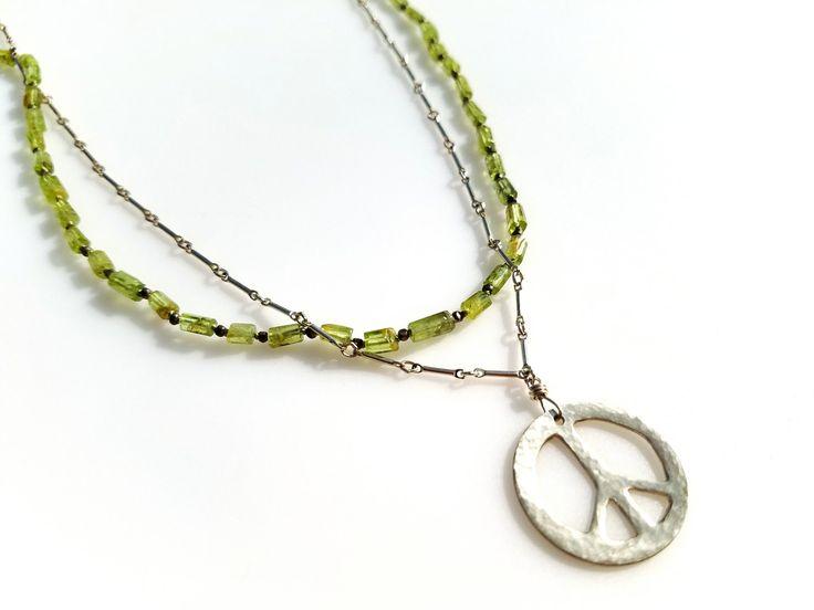 Peridot Beaded Necklace Boho Green Gemstone Necklace Hand Knotted Beaded Necklace August Birthstone Dainty Layering Necklace Gypsy Style by NatalieCara on Etsy